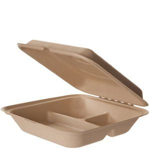 "9"" x 9"" x 3"" 3-Compartment Wheat Straw Clamshell"